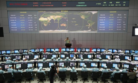 Mission control at the Jiuquan space centre in the Gobi Desert after China's longest manned space mission in 2013.