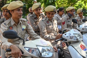 One of the Punjab police force's Shakti teams – all-female squads formed with the aim of tackling crime against women – attend a launch ceremony in Amritsar, India