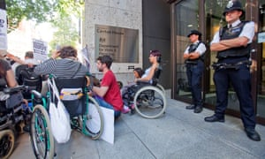 A disability protest outside the Department of Work and Pensions, London.
