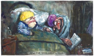 Martin Rowson cartoon 28/03/20: Boris Johnson sick in bed, after Munch painting