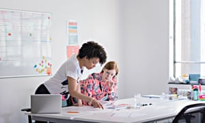 Businesswomen having meeting in tech start-up office