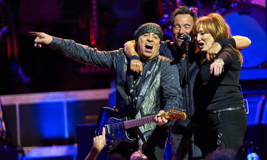 Van Zandt (left), Bruce Springsteen and Patti Scialfa perform with the E Street Band at Madison Square Garden in New York in 2016.