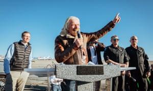 Sir Richard Branson celebrates the Virgin Galactic test flight of SpaceShipTwo, VSS Unity in California on Thursday.