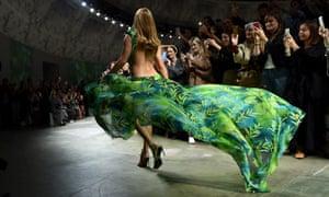 Jennifer Lopez walks the runway at the Versace show during Milan Fashion Week
