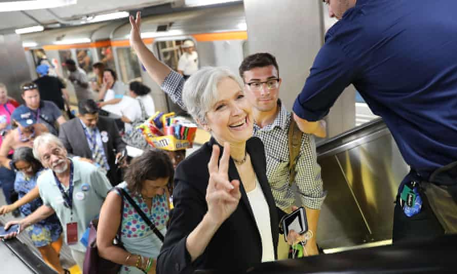 Green Party candidate Jill Stein speaks with supporters in downtown Philadelphia during events at the Democratic national convention.