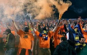 Apoel Nicosia fans after the final whistle of the Champions League first leg quarter-final against Real Madrid at the GSP Stadium in 2012