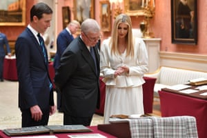 Ivanka Trump and her husband Senior Advisor to the President Jared Kushner view displays of US items of the Royal Collection with Britain's Prince Andrew, Duke of York at Buckingham palace