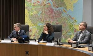 (L-R) Yvonne van Duijnhoven (GGD), mayor Erik Boog (Diemen), Mayor Femke Halsema of Amsterdam and Tijs van Lieshout (director Security Region Amsterdam) during a press conference about the outbreak of the COVID-19 Coronavirus in Amsterdam, The Netherlands, 28 February 2020.
