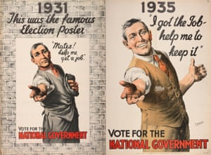 Campaign posters for Britain's national government coalition spanning two elections.