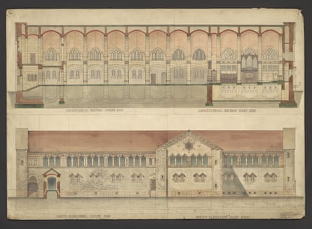 'Longitudinal section and south elevation.', measured drawing by Robert W. Schultz Weir, Cathedral Church of All Saints, Khartoum, Sudan, 1888-1934.