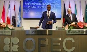 Nigeria's oil minister and Opec president Emmanuel Ibe Kachikwu and Opec secretary general Abdullah al-Badri