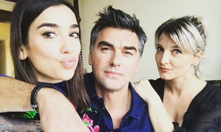 Dua Lipa, left, with her father Dukagjin and mother Anesa.