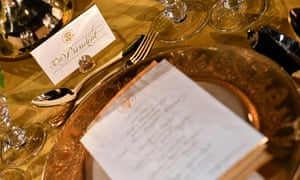 A preview of the tables and settings for the State Dinner in the Rose Garden at the White House to be hosted by United States President Donald Trump for Australia's Prime Minister Scott Morrison tomorrow night in Washington DC, United States, Thursday, September 19, 2019. (AAP Image/Mick Tsikas) NO ARCHIVING