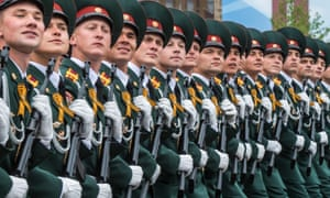 Soldiers march through Red Square during the Victory Day military parade in Moscow in May 2019