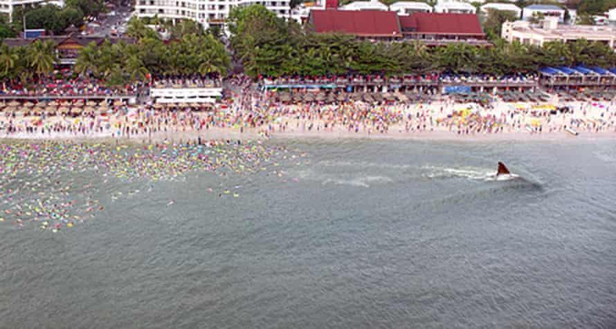 Plastic beach … The Meg in the shallows.