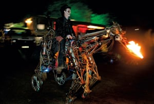 Paka the Uncredible on his steel steed at Lost Vagueness at Glastonbury