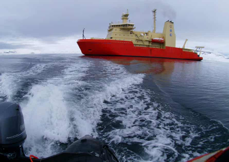 Taking the Zodiac to the shore from the Nathaniel B. Palmer icebreaker ship