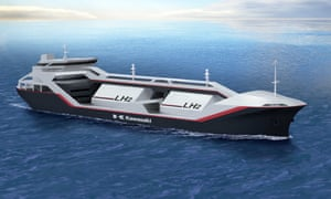 Australia and Japan signed a deal in January 2017 to ship liquid hydrogen in bulk from Victoria, in what will be a world first. A pilot project is expected to start in 2020. Supplied artist's impression of a liquid hydrogen carrier from ship-builder Kawasaki Heavy Industries.