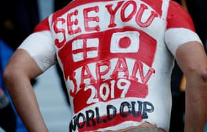 A spectator at Twickenham looks forward to the Rugby World Cup in Japan.