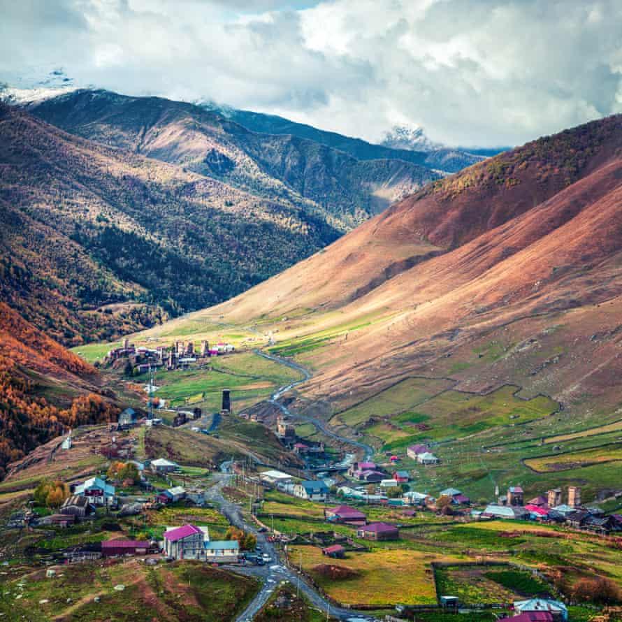 Ushguli village in the Upper Svaneti region.