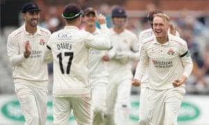 Lancashire celebrate a wicket for Matt Parkinson against Sussex.