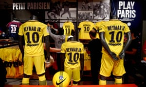 Some of the many Paris Saint-Germain shirts bearing Neymar's moniker in the club shop in August 2017.