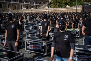 """Entertainment workers protest during the demonstration organised by """"Bauli in Piazza"""" against Covid-19 restrictions and the lack of financial aid to the cultural, entertainment and events sector, on 17 April, 2021 in Rome, Italy."""