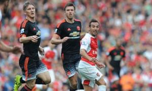 Bastian Schweinsteiger, left, and Michael Carrick, centre, were not taken off despite their struggles against Arsenal.