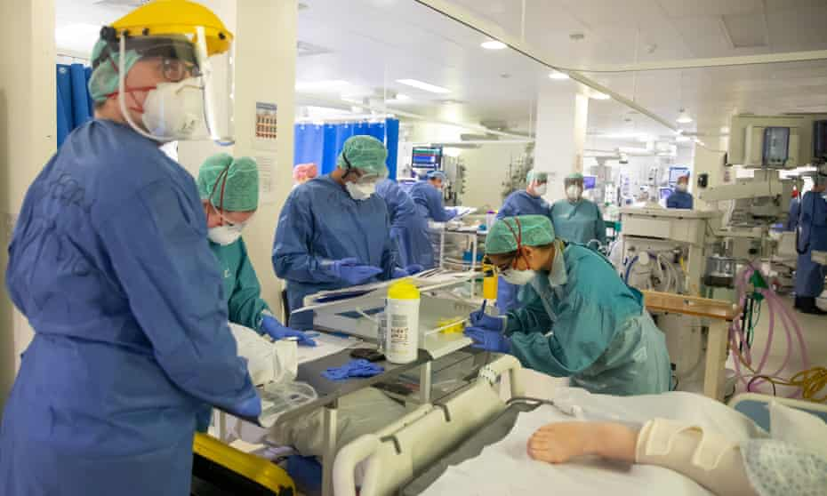 Medical staff treating Covid-19 patients on an intensive care ward in Coventry in April.