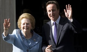 Margaret Thatcher and David Cameron outside No 10 in 2010.