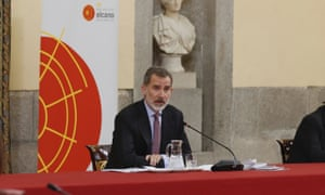 King Felipe VI at a meeting of the Elcano Royal Institute at El Pardo Royal Palace on Monday.