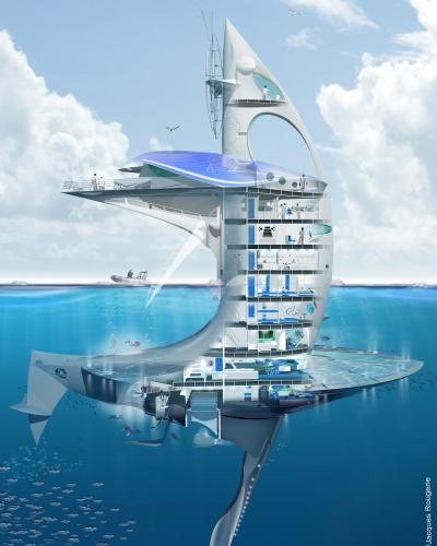 The SeaOrbiter designed by French architect Jacques Rougerie