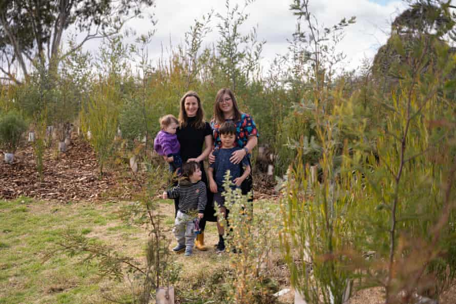 Liz, Purdie and their kids in the Downer Microforest