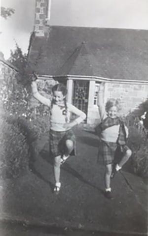 Ann Fraser and her sister practising the Highland fling in the 1950s.