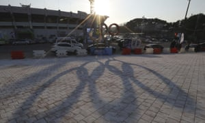 The Olympic rings cast a shadow near the 2018 Pyeongchang Winter Olympics venues.