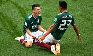 Hirving Lozano of Mexico celebrates with Jesus Gallardo