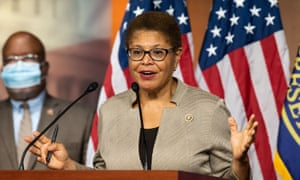 Representative Karen Bass (D-CA) speaks at a press conference of the Congressional Black Caucus.