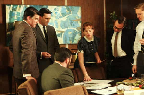 Elisabeth Moss (centre) as Peggy Olson, working to be taken seriously as a creative in Mad Men, season 2