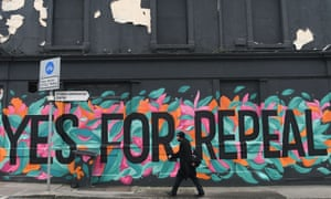 A pro-choice mural urging a yes vote in the referendum to repeal the eighth amendment in Dun Laoghaire, Ireland, 10 May 2018.
