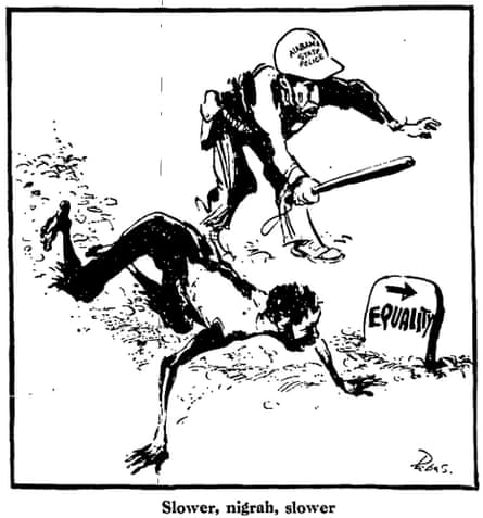 Bill Papas cartoon on Selma to Montgomery march after Bloody Sunday, The Guardian 9 March 1965