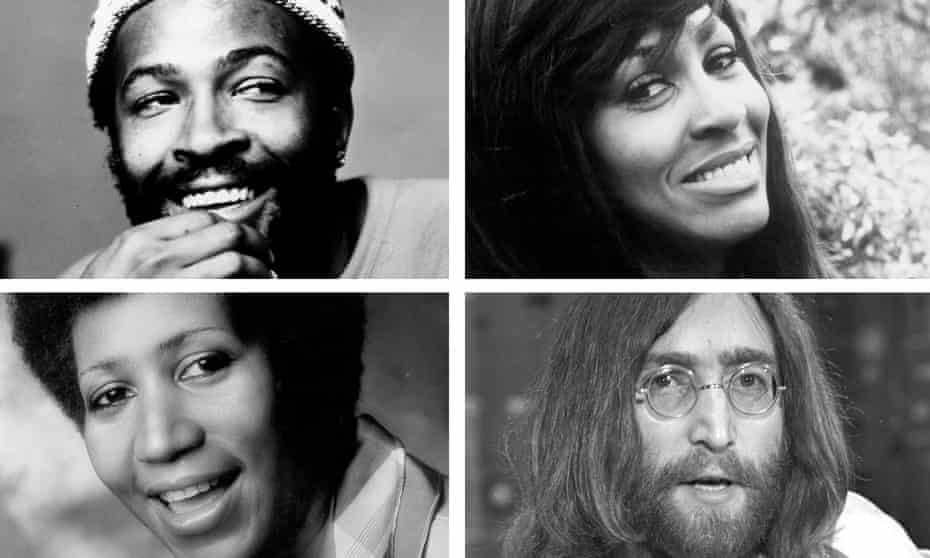 From clockwise: Marvin Gaye, Tina Turner, John Lennon and Aretha Franklin