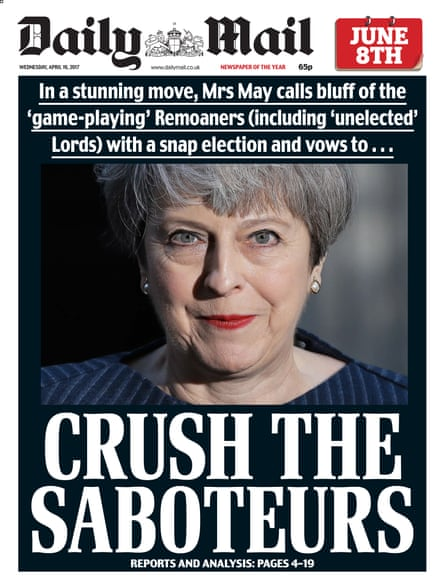 The Daily Mail front page from April last year.