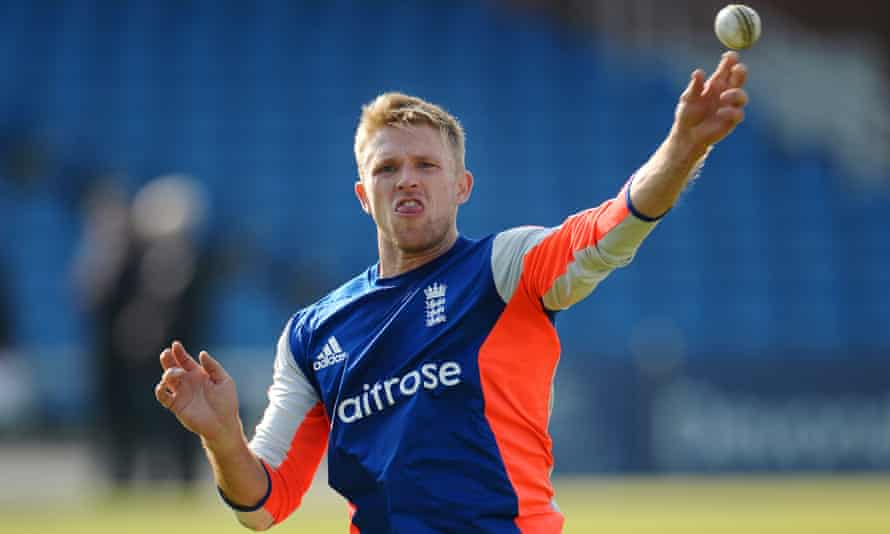 David Willey takes part in a training session as England prepare for the fourth one-day international against Australia