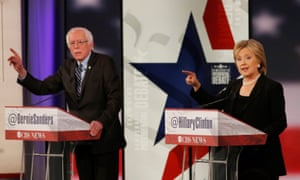 Democratic U.S. presidential candidates Clinton and Sanders discuss a point during the second official 2016 U.S. Democratic presidential candidates debate in Des Moines<br>