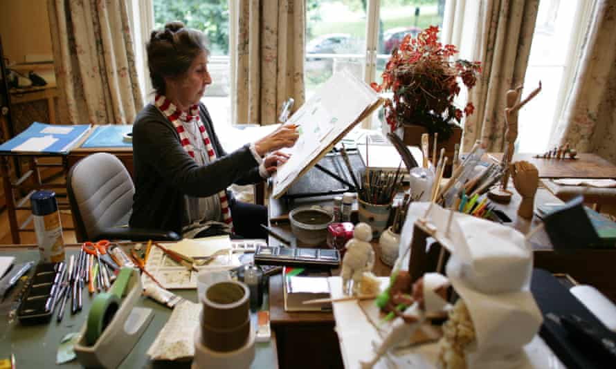Separate studios … Helen Oxenbury at work.