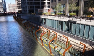 Illustration of the bike lane in downtown Chicago