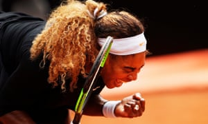 Serena Williams celebrates winning a big point during her Italian Open first round match against Rebecca Peterson.