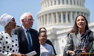 Ilhan Omar, Bernie Sanders and Alexandria Ocasio-Cortez speak outside the US Capitol in Washington DC on 24 June 2019.