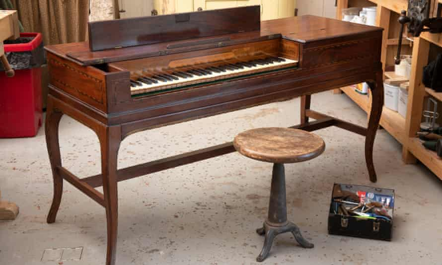 The First Fleet Piano piano in the workshop near Bath.
