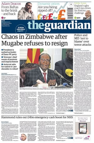Front page of the Guardian, 20 November 2017.